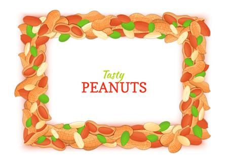 Horizontal rectangle frame composed of delicious peanut. Illustration