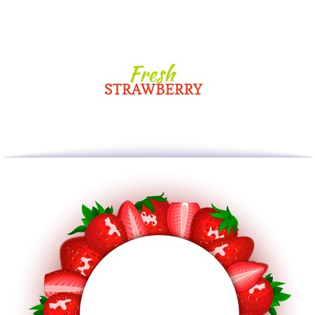 Semicircle colored frame composed of delicious red strawberry fruit. Vector card illustration. Strawberry berry half-round frame for design of food packaging juice breakfast cosmetics tea detox diet Banque d'images - 91884623