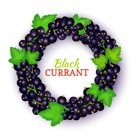Round colored frame composed of black currant.