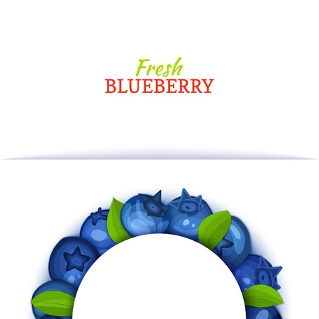 Semicircle colored frame composed of delicious blueberry fruit. Vector card illustration. Blue bilberry half-round frame for design of food packaging juice breakfast cosmetics tea detox diet. Illustration