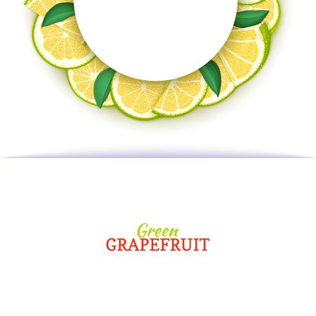 Semicircle white frame composed of delicious tropical green grapefruit. Vector card illustration. Pomelo citrus half-round frame for design of food packaging juice breakfast cosmetics tea detox diet Banque d'images - 92246337