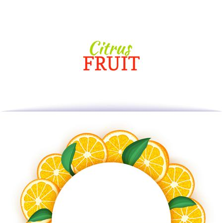 Semicircle white frame composed of delicious tropical oranges. Vector card illustration. Orange mandarin citrus half-round frame for design of food packaging juice breakfast cosmetics tea detox diet. Banque d'images - 92524909