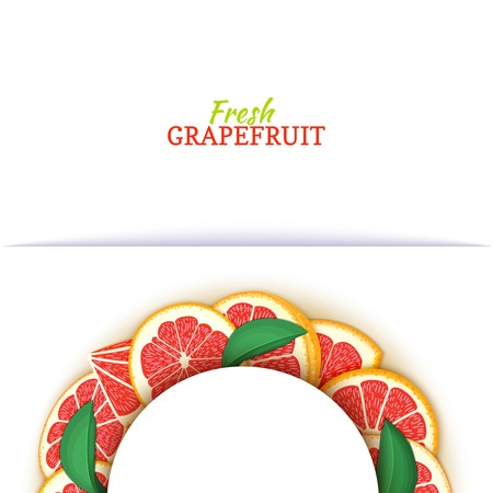Semicircle white frame composed of delicious tropical red grapefruit. Vector card illustration. Pomelo citrus half-round frame for design of food packaging juice breakfast cosmetics tea detox diet