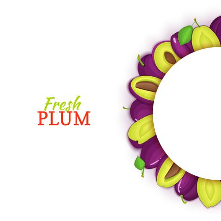 Semicircle colored frame composed of delicious plum fruit. Vector card illustration. Fresh plums half-round white frame for design of food packaging juice, breakfast, cosmetics tea, detox, diet. Banque d'images - 92497490