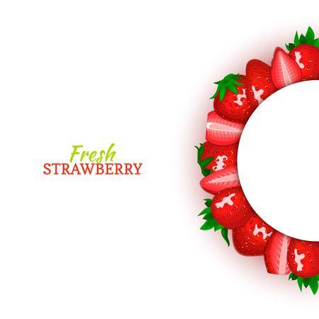 Cadre de couleur demi-cercle composé de délicieux fruits rouges aux fraises. Illustration de carte vectorielle. Strawberry berry demi-ronde cadre pour la conception de l'emballage des aliments jus petit déjeuner cosmétiques detox diététique Banque d'images - 92497153