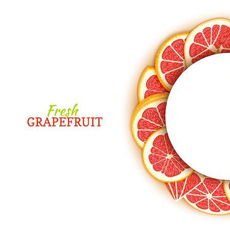 Cadre blanc demi-cercle composé de délicieux pamplemousses rouges tropicaux. Illustration de carte vectorielle. Pomelo agrumes demi-ronde cadre pour la conception de l'emballage des aliments jus petit déjeuner cosmétiques désintoxication de thé Banque d'images - 92602229