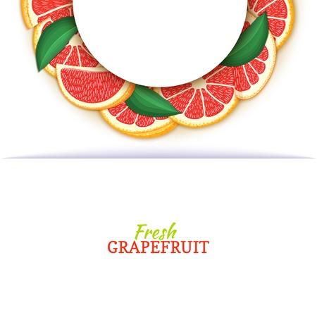 Cadre blanc demi-cercle composé de délicieux pamplemousses rouges tropicaux. Illustration de carte vectorielle. Pomelo agrumes demi-ronde cadre pour la conception de l'emballage des aliments jus petit déjeuner cosmétiques désintoxication de thé Banque d'images - 92686042