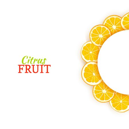 Semicircle white frame composed of delicious tropical oranges. Vector card illustration. Orange mandarin citrus half-round frame for design of food packaging juice breakfast cosmetics tea detox diet