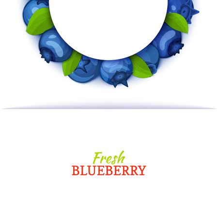 Semicircle colored frame composed of delicious blueberry fruit. Vector card illustration. Blue bilberry half-round frame for design of food packaging juice breakfast cosmetics tea detox diet