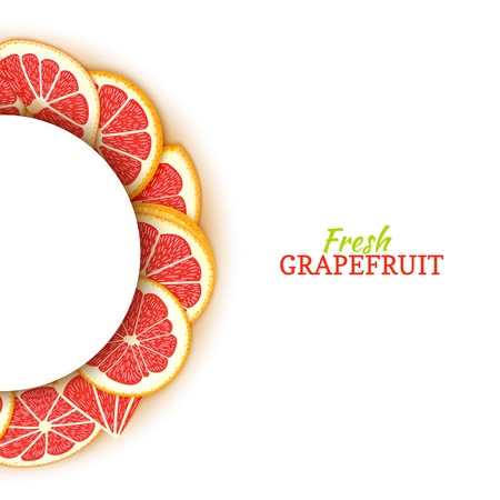 Cadre blanc demi-cercle composé de délicieux pamplemousses rouges tropicaux. Illustration de carte vectorielle. Cadre demi-rond agrumes pour la conception de l'emballage des aliments jus de petit déjeuner cosmétiques désintoxication du thé régime. Banque d'images - 92800970