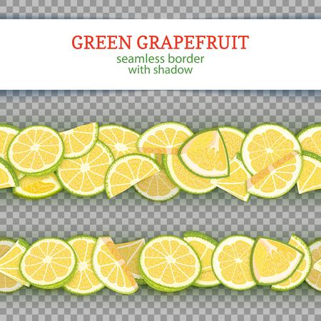 Ripe grapefruit fruit horizontal seamless borders.