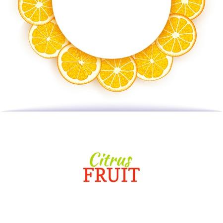 Cadre blanc demi-cercle composé de délicieuses oranges tropicales. Illustration de carte vectorielle. Orange mandarine demi-ronde cadre d'agrumes pour la conception de l'emballage des aliments jus petit déjeuner cosmétiques désintoxication de thé Banque d'images - 92949755