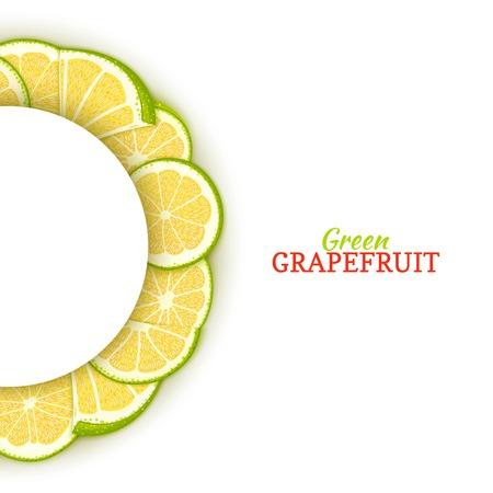 Cadre blanc demi-cercle composé de délicieux pamplemousse vert tropical. Illustration de carte vectorielle. Pomelo agrumes cadre demi-ronde pour la conception de l'emballage des aliments jus de petit déjeuner cosmétiques désintoxication de thé régime. Banque d'images - 93071044