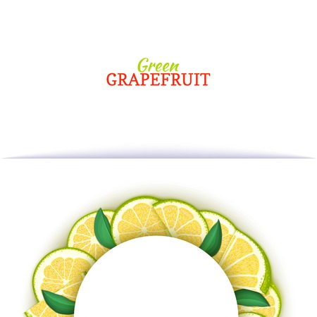 Semicircle white frame composed of delicious tropical green grapefruit.