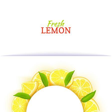 Cadre blanc demi-cercle composé de délicieux citron tropical. Banque d'images - 93148812