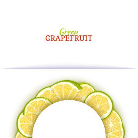 Cadre blanc demi-cercle composé de délicieux pamplemousse vert tropical. Banque d'images - 93148811