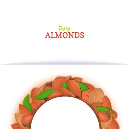 Semicircle frame composed of almond nut. Vector card illustration. Illustration