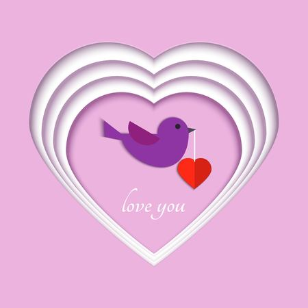 Paper art carve layers of hearts, a bird flies with a heart in its beak. Origami papercut concept and Valentines day idea, vector art and illustration. Symbol of love for greeting card