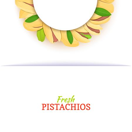 Semicircle white frame composed of pistachios nut. Vector card illustration. Nuts frame, pistacia in the shell, shelled, leaves for packaging design food, butter, pistachio oil, cosmetics cream. Banque d'images - 93772939
