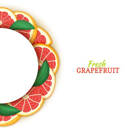 Semicircle white frame composed of delicious tropical red grapefruit. Vector card illustration. Pomelo citrus half-round frame for design of food packaging juice breakfast cosmetics tea detox diet Banque d'images - 93467590