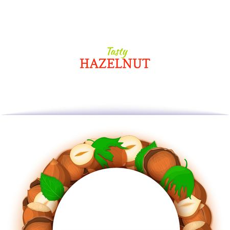 Semicircle frame composed of hazelnut nut. Vector card illustration. Nuts filbert frame, pecan fruit in the shell, shelled, leaves for packaging design food, butter, oil, detox cosmetics cream