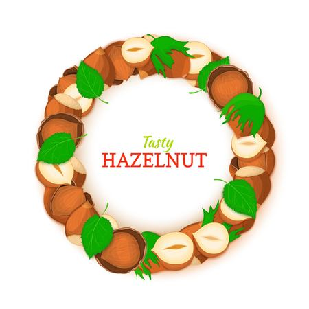 Semicircle frame composed of hazelnut nut vector card illustration. Nuts filbert frame, pecan fruit in the shell, shelled, leaves for packaging design food, butter, oil, detox cosmetics cream.