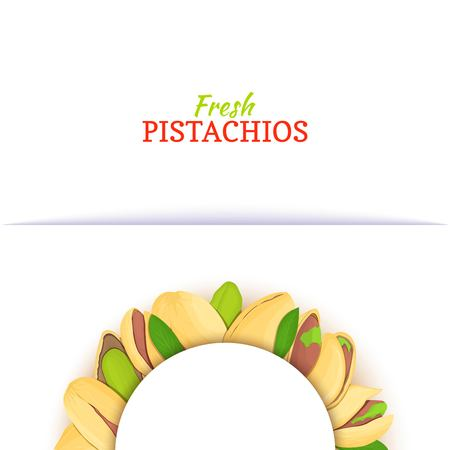 Semicircle white frame composed of pistachios nut. Vector card illustration. Nuts frame, pistacia in the shell, shelled, leaves for packaging design food, butter, pistachio oil, cosmetics cream. Banque d'images - 93549796