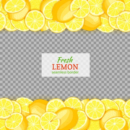 Ripe lemon fruit horizontal seamless borders. Vector illustration card Wide and narrow endless strip with yellow lime o for design of food packaging juice breakfast, cosmetics, tea, detox diet.
