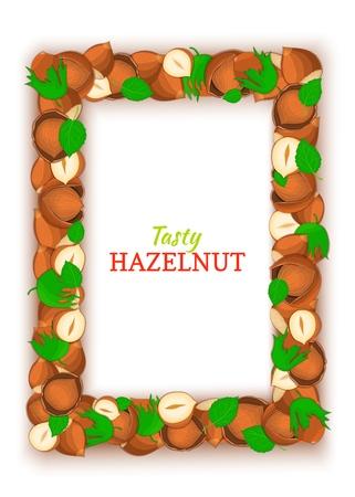 Vertical Rectangle colored frame composed of delicious of hazelnut. Vector card illustration. Filbert nuts frame, walnut fruit in the shell, whole, shelled, leaves for packaging design of food. Ilustração