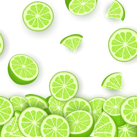 Vector illustration of falling lime fruit. Green lemon vector pattern citrus fruits whole and slice for design of food packaging breakfast. Ilustração