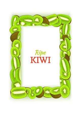 Rectangular vertical frame composed of delicious green kiwi fruit. Vector card illustration. Rectangle kiwifruit fram fruits for design food packaging breakfast, detox, cosmetics cream, jam juice. Illustration