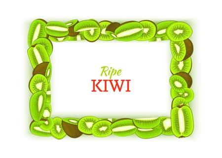 Horizontal rectangular frame composed of delicious green kiwi fruit. Vector card illustration. Rectangle kiwifruit fram fruits for design food packaging breakfast, detox, cosmetics cream, jam juice.
