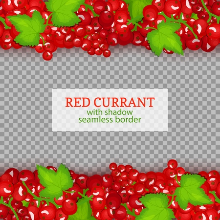 Red currant fruit horizontal seamless borders. Vector illustration card .Endless strip with red currant berries and leaves for design of food packaging juice breakfast, cosmetics, tea, detox. Çizim