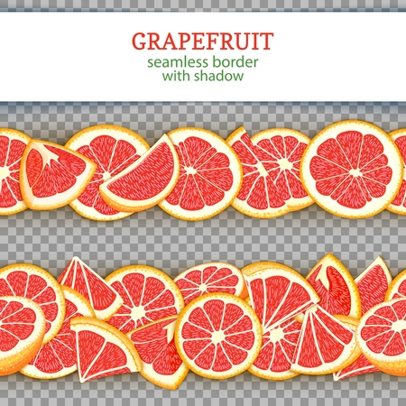 Ripe grapefruit fruit horizontal seamless borders. Vector illustration card Wide and narrow endless strip with red pomelo for design of food packaging juice breakfast, cosmetics, tea, detox diet.