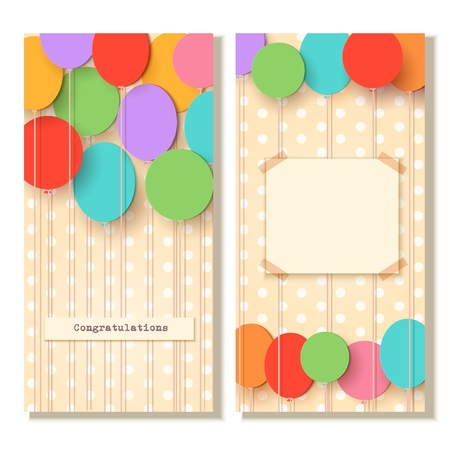 Greeting card template. Flying paper cut balloons.