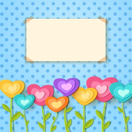 Greeting card. Paper cut flowers in the form of heart. Vector applique illustration. Flat festive flower decoration for design celebrate valentine flyer party banner, love card, gift. Ilustrace