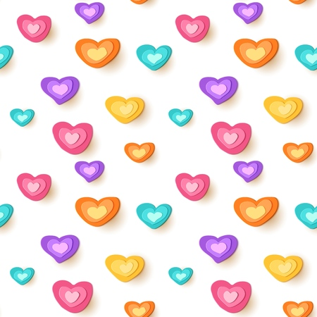 Paper cut hearts. Seamless cute pattern. Vector applique illustration.