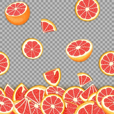 Tropical background of falling red pomelo fruit. Vector card illustration . Grapefruit vector seamless pattern citrus fruits for design of food packaging breakfast, detox, cosmetics cream, jam, juice.