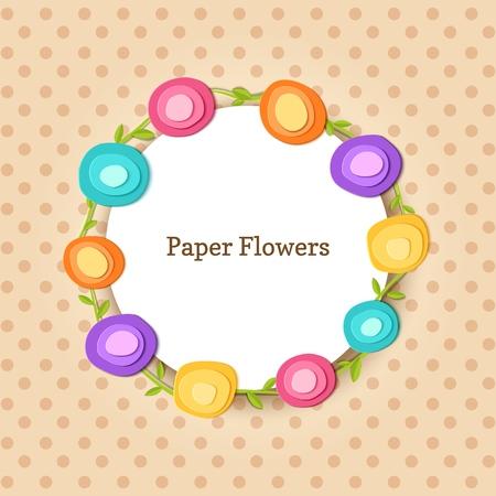 Cute round frame. Paper cut flowers. Vector applique illustration. Flat floral spring decoration for design celebrate flyer party banner, card, gift