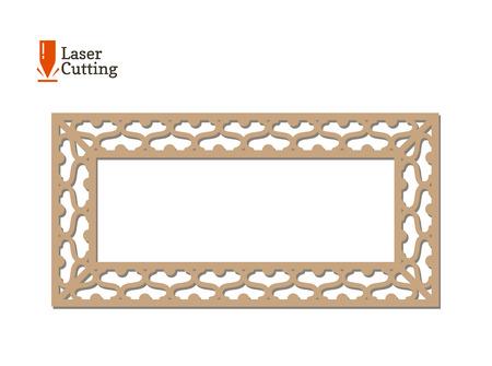 Laser cut panel. Vector frame template for cut on laser machine. Art silhouette design. Vector card illustration for design of photo frames, invitation decorations