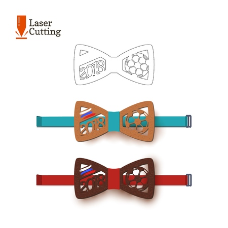 Laser cut bow-tie template souvenir for world football cup 2018 with Russian flag silhouette for cutting on a lathe made of wood, metal, and plastic. Design of a sports accessory for a soccer fan Vectores