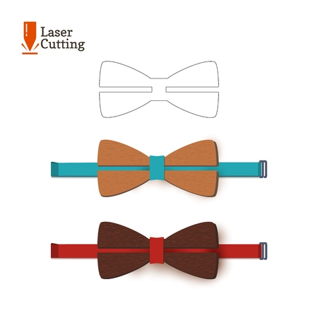 Laser cut bow-tie template. Vector silhouette for cutting a bow tie on a lathe made of wood, metal, plastic. The idea of design of a stylish accessory Vectores