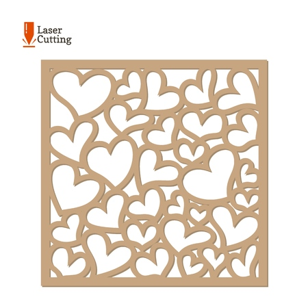 Laser cut panel. Vector frame template with hearts for cut on laser machine. Art silhouette design. Vector card illustration for design of valentines, invitation decorations, love gift.