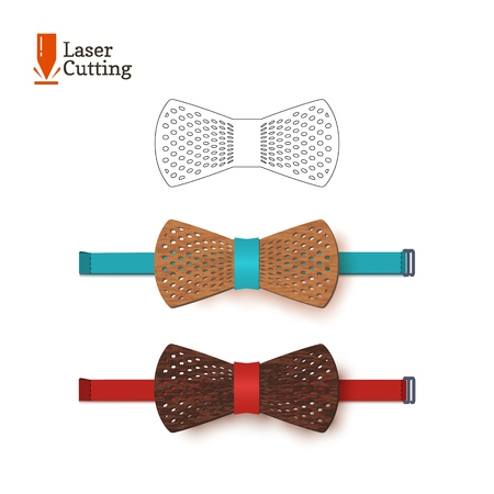 Laser cut bow-tie template for DIY. Vector silhouette for cutting a bow tie on a cnc, lathe made of wood, metal, plastic. The idea of design of a stylish accessory.