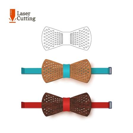 Plantilla de pajarita cortada con láser para bricolaje. Silueta de vector para cortar una pajarita en un cnc, torno de madera, metal, plástico. La idea del diseño de un accesorio elegante.