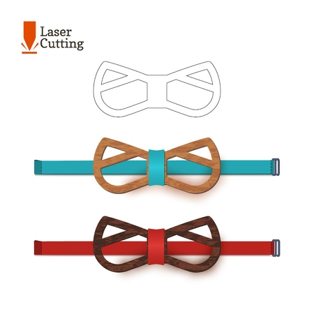 Laser cut bow-tie template for DIY. Vector silhouette with cute cat ears for cutting a bow tie on a cnc, lathe made of wood, metal, plastic. Funny idea of design of a stylish accessory
