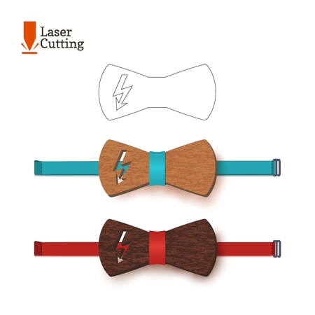 Laser cut bow-tie template with flash symbol, vector silhouette for cutting a bow tie on a lathe made of wood, metal, plastic. The idea of design of a stylish accessory with lightning energy sign.