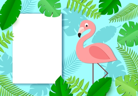 Tropical paper background with leaves, exotic bird and white sheet. Flamingo look out over the thickets of the jungle. Temlplate of page with place for text. Vector illustration in paper art style.