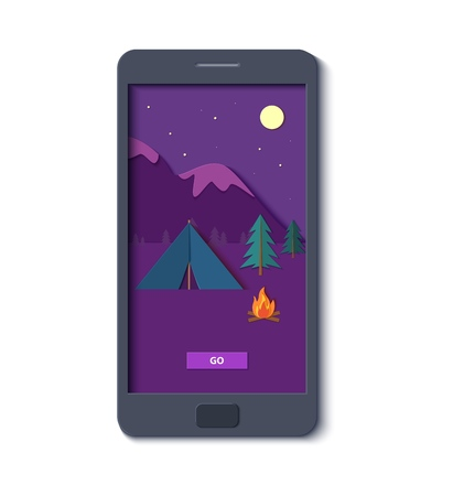 Evening camp with bonfire and tent forest and rocky mountains in mobile phone in trendy paper cut style.. Camping in wild nature at night. Starry night sky shooting star. Vector card illustration..