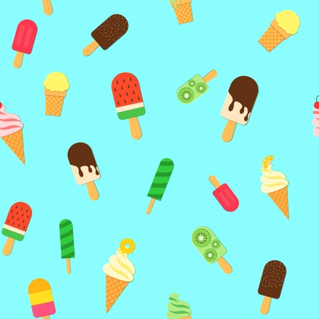 Ice Cream repeat seamless pattern in trendy paper cut style. Tasty bright ice-cream stick and cones summer on blue background for package design Vector card illustration in paper cutting art style.